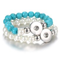 Wholesale Pearl Snaps - Fashion Turquoise Noosa Chunk Pearl Beads 18mm Button Bracelet DIY Ginger Snap Button Statement Jewelry Wholesale