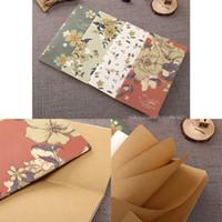 vintage mädchen notebooks großhandel-Vintage Blume Studenten Notebooks Notizblöcke mit Kraft Blankopapier für Mädchen Kinder Schulmaterial, 4 Farben erhältlich