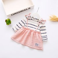 Wholesale 12 Months Dresses - Toddler Baby Girls Cotton Long Sleeve Color Stitching Dress Clothes