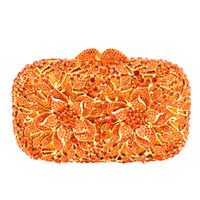 Wholesale Crystal Flower Clutch Purse - Wholesale- Flower Pattern Evening Bag Blue Luxury Crystal orange Evening Clutch Bag Gold Diamond Party Purse Silver Banquet bag 88165