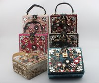 Wholesale Pink Lock Boxes - 2017 luxury womens females ladies arcylic velvet suede high-grade retro carved hollowed out box case bag dinner should bag 6colors