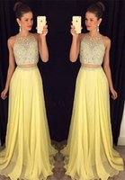 Wholesale Ladies Two Piece Evening Dresses - Garden Modern Charming Evening Dresses A Line Jewel Hollow Sleeveless Sweep Train Beaded Two Pieces Dress Ladies formal tuxedo 2017
