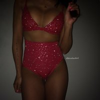Wholesale Sequin Short Bra - New Sexy Crystal Beads lace Bra and Shorts 2 Piece Sets Women Autumn Winter Sequins Camis And Shorts