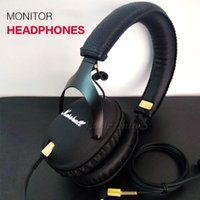 Wholesale Dj Stereo - Marshall Monitor foldable headphones with MIC Leather Noise Cancelling Deep Bass Stereo Monitor DJ Hi-Fi Headphones AAA quality Headset free