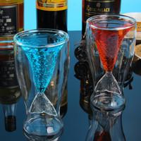 çift katmanlı cam kupa toptan satış-Yaratıcı kişiselleştirilmiş Çift Duvarlı Cam Çay Bardağı Kupa Kırmızı Şarap Bardağı, Çift Katmanlı Mermaid Kuyruk Şekli, 150 ml, 4.4 oz