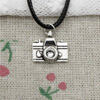 15pcs New Fashion Antique Silver Charms camera 15 * 14mm Pendant Necklace Black Leather Cord Colar de jóias feitas à mão
