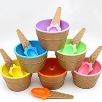 Wholesale Dessert Cups - Cute Plastic Ice Cream Bowl With Spoon Eco-Friendly Dessert Bowl Container Set Ice Cream Cup Children Tableware