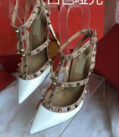 Wholesale Light Blue Wedding Heels - Top Fashion lady High Heels T Straps Rivets High Heels Woman Sandal Shoes cow Patent Leather Shoes 8cm 10cm 34-44 with box free