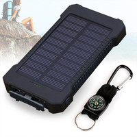 Wholesale Wholesale Polycrystalline Solar Cells - 20000mAh Solar Charger Dual USB Battery Pack Portable Phone Solar Power Bank Waterproof Battery Charger for iPhone Samsung Cellphones iPad