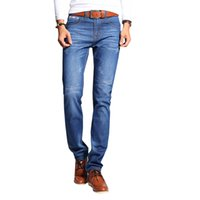 Wholesale Wholesale Mens Skinny Jeans - Wholesale- Jeans Men Levy Jeans Mens Skinny Jeans Brand Trousers Straight Male Pant Classic Solid Stretch Full Length N-ZK066
