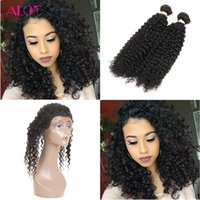 Wholesale Malaysian Curly Lace Closure Piece - Pre Plucked 360 Lace Frontal Closure With Bundles 2Pcs Kinky Curly Hair Brazilian Virgin Hair Bundles with 360 Lace Frontal Prade 8A