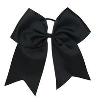 Wholesale orange accessories for baby girl online - Colors quot Girls Grosgrain Hair Cheer Bow With Elastic Bands Solid Cheerleading Bow For Baby Accessories