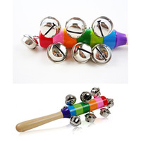 Wholesale Infant Music Toys - Wholesale- Rainbow Baby Hand Colorful Bell Puzzle Ring Baby Infant Toddler Bed Bell Music Developmental Educational Preschool Toys