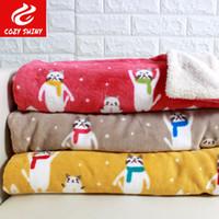 Wholesale Sherpa Baby - Japanese Style Lamb Sherpa Double Blanket Winter Nnow Cat Kitten Catty Kitty Blanket Cartoon Children Baby Sleeping Throw Blankets 100*75cm