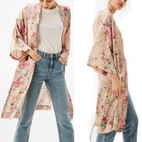 Moda Bohemian Donne Kimono Cardigan blouse autunno Stampa floreale Long oversize Top scialle Camicette camicie top Outwear blusa mujer feminino