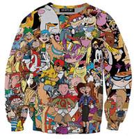 karikatür giyen hoodie toptan satış-Wholesale-2016 S-3XLCreative 3D Baskı Karikatür Hoodies Erkekler Hoodie Kazak Kazak Moda Erkekler Spor Casual Sporcu Aşınma Moletom