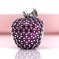Wholesale Pandora Apple Charm - Authentic 925 Sterling Silver Red Pave Apple Charm Fancy Red CZ & Green Crystal Fit For Pandora Snake Chain Bracelet DIY Jewelry 791485CFR