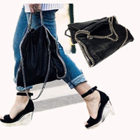 Wholesale Sheepskin Handbags - Wholesale- 2016 Stella Chain Bag Black Silver Black Gold Chain Handbag Really Portable Bangalor Oumeishi Sheepskin Trend Women Shoulder Bag