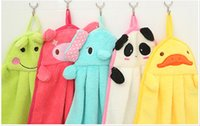 Wholesale Towel Wipe - 5 color Hot Hot Baby Hand Towel Soft Children's Cartoon Animal Hanging Wipe Bath Face Towel