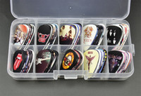 Wholesale Box Guitar Wholesale - Wholesale- New 100pcs Medium Guitar Picks Plectrums Rock Bands GNR The Beatles QUEEN ACDC LED Zeppelin With Box