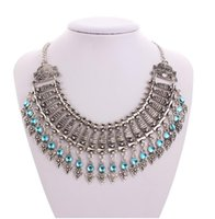 Wholesale Tribal Necklace India Wholesale - 30pcs Gypsy Bohemian Beachy Chic Coin Statement Necklace Boho Festival Silver Fringe Bib Coin Ethnic Turkish India Tribal F76