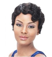 Wholesale New Short Black Curly Wig - New Short Hair Wigs For Black Women Black and Short Curly Synthetic Wigs Perruque Synthetic Women Cheap wigs Free Shipping