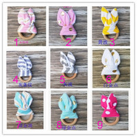 Wholesale Hand Bell Baby Toys - Baby toothbrush, wooden ring, hand ringing bell, natural wood circle and rabbit ear fabric neonatal teeth practice toys