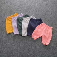 Wholesale thin pink elastic - Summer thin trousers comfortable casual pants boys and girls children baby mosquito Pure Kids Knickers for 0~5 Y