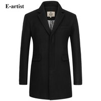 Wholesale Business Artist - Wholesale- E-artist Men's Slim Fit Business Casual Long Wool Coats Male Warm Winter Jackets Peacoats Outerwear Overcoats Plus Size 5XL N32