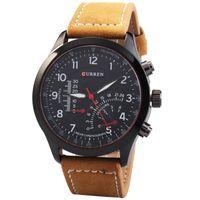 Wholesale Military Leather Watch Bands - Fashion CURREN 8152 Men's Quartz Watches Top Brand Luxury Men Wristwatches Men Military Relogio Masculino Leather Band Sports Quartz Watch