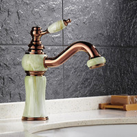 Wholesale Golden European Handles - European Style Best Bathroom Sink Faucets With Jade Painting  Rose Golden Rotatable Single Handle Bathroom Sink Faucet HS329