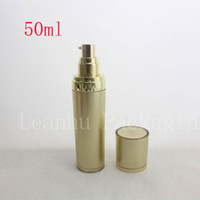 Wholesale Gold Cosmetics Skin Care - 50ml   50g gold skin care bottle plastic acrylic cream lotion container bottle ,high quality cosmetics packaging acrylic bottle