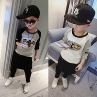Wholesale Undershirt Child Boy - 2017 New Spring Korean Version Child T-Shirt Boy Batman Jack Shoulder Long Sleeve T-Shirt Tide Baby Undershirts