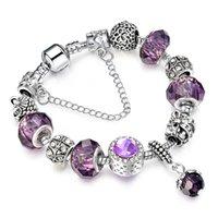 europa-perlen-art und weisearmband großhandel-2017 Mode in Europa und die lila Kristall Legierung Armband DIY Perlen Kristall Armband