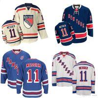 2016 New Cheap Original New York Rangers Jersey 11 Mark Messier White Beige  Blue Alternate 1998 CCM Vintage NY Rangers Hockey Jerseys