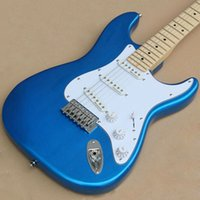 Guitarra personalizada ST Ocean Blue Metallic Maple Fingerboard Black Dot Inlays guitare fabricado na China