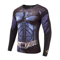 Wholesale Gray T Shirts Wholesale - Super-hero 3D Print T-Shirt Sleeve Long Sleeve Shirt Top Black Compression Tight Elastic force Clothing Male T-shirt Free delivery