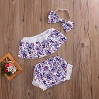 Wholesale Three Years Girls Clothes - Ins Summer Baby Girls Clothing Sets Floral Vest+ Shorts+Headband Three Piece Sweet Outfits Kids Clothes 0-2 years LT3068