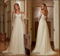 Wholesale Daria Wedding Dress - Daria Karlozi 2017 Plus Size Wewdding Dresses for Pregnant Women Off the Shoulder with Long Sleeve Vintage Lace A Line Bridal Gowns