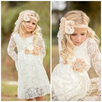 Wholesale Lace Sleeve Long Dresses - 2017 Boho Lace Flower Girl Dresses For Summer Garden Weddings Knee Length Crew Neck Kids Formal Wears Girls Birthday Dresses