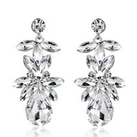 Wholesale imitation crystal chandeliers resale online - Vintage Earrings Rhinestone Crystal Dangle Earrings Imitation Rhodium Plated Crystal Flower Fashion Earrings For Women