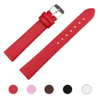 Wholesale 16mm Brown Leather Watch Band - Wholesale-Wavors 16mm Women Men PU Leather Watch Strap Band WristWatch Replacemen Accessory Black White Brown Pink Red