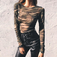 Wholesale Womens Military Army Green - Military Camouflage Print Hole Sheer See Through Naked Belly-buttons T-Shirt Womens Crew Neck Long Sleeve Hollow Out Shirt Lady Crop Tops