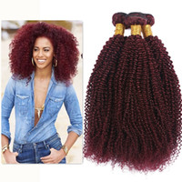 Wholesale 24 Inch Red Hair Extensions - Wine Red 99J Kinky Curly Hair Bundles Good Quality Burgundy 99J Brazilian Virgin Hair Extension Afro Kinky Curly Hair Weaves 3Pcs