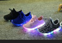 Wholesale Wholesale Light Children Shoe - New Autumn Winter Boys Girls LED Light Casual Shoes Skate Children Kids Shoes size21-35