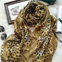 Wholesale Scarf Leopard Color - ERI- New classic color 3d print Leopard silk scarf ,luxury silk scraves,100% Top grade silk, size 110*110cm
