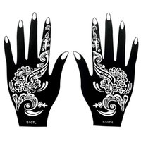 Wholesale Black Henna Hand Tattoos - Wholesale- 1 Pair Classic Henna Body Hand Art Nontoxic Temporary Black Tattoo Ink Design Paint for Women Tattoo Sticker Henna Stencil S107
