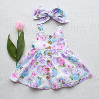 Wholesale Baby Girls Button Dress - 2017 INS Hot Baby girl Kids toddler Summer Clothes 2piece set Clothing Rose Floral Dress Jumper Jumpsuits Buttons bowknot headband headwrap