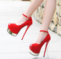 16cm Sexy Women Ankle Strap Super Platform Pompes Black Red Prom Night Club Chaussures Taille 34 à 39
