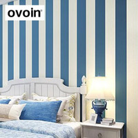 Wholesale Contemporary Modern Vertical Blue White Striped Wallpaper Plain Bedroom Sofa Background Covering Wall Paper Roll